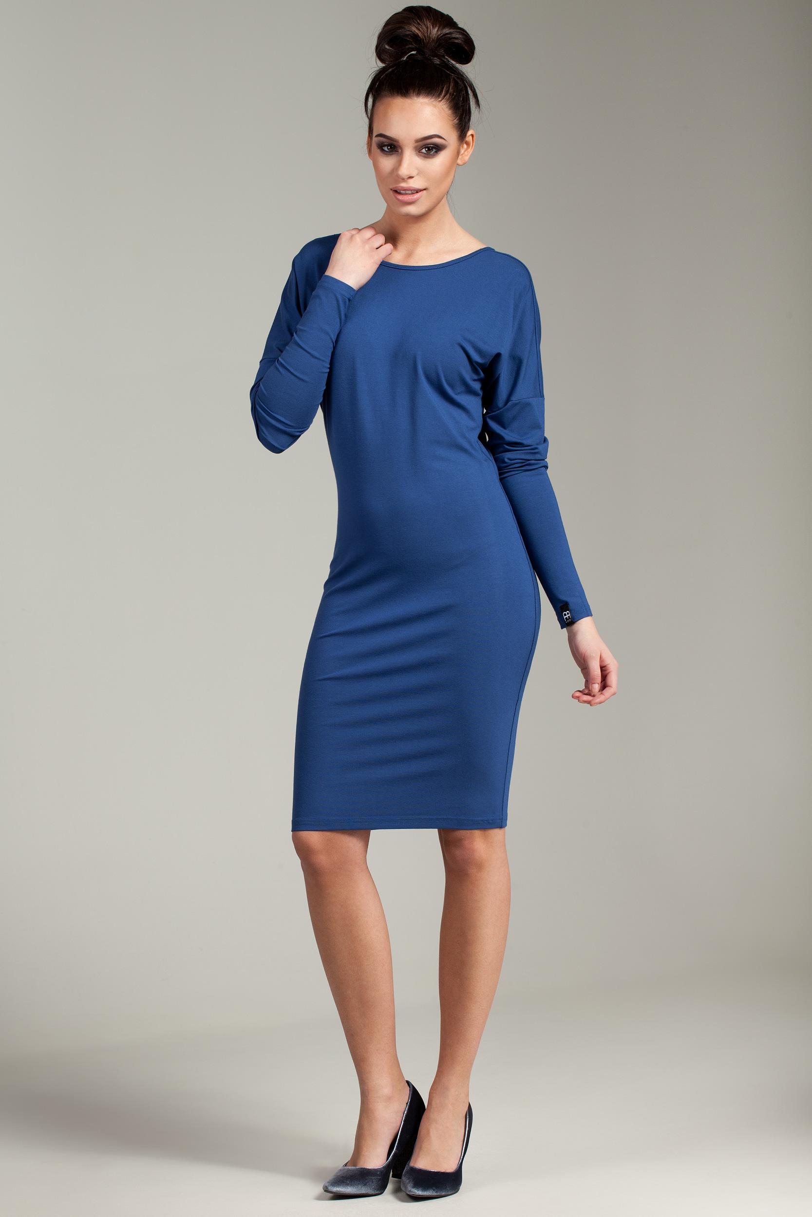 CM2872 Dopasowana sukienka z wiązaniem na plecach - niebieska