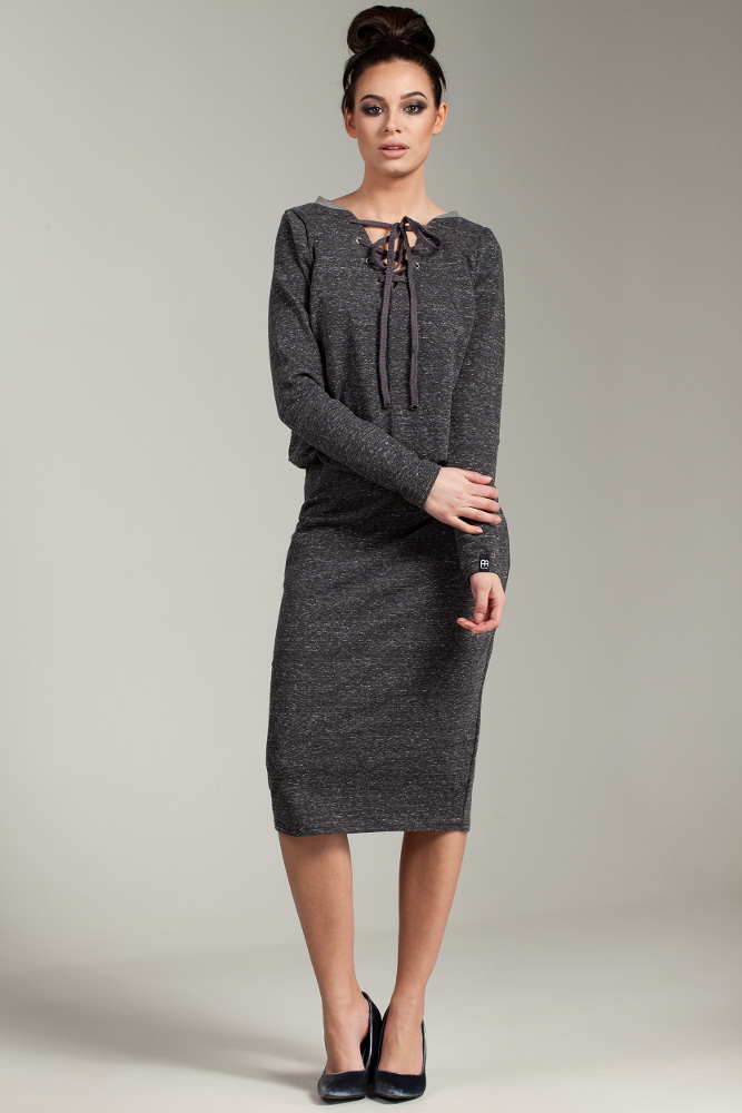 CM2874 Wygodna dresowa sukienka - grafitowy-melanż