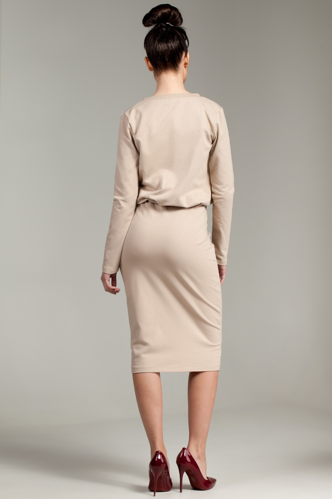 CM2876 Przewiązana sukienka biurowa - beżowa
