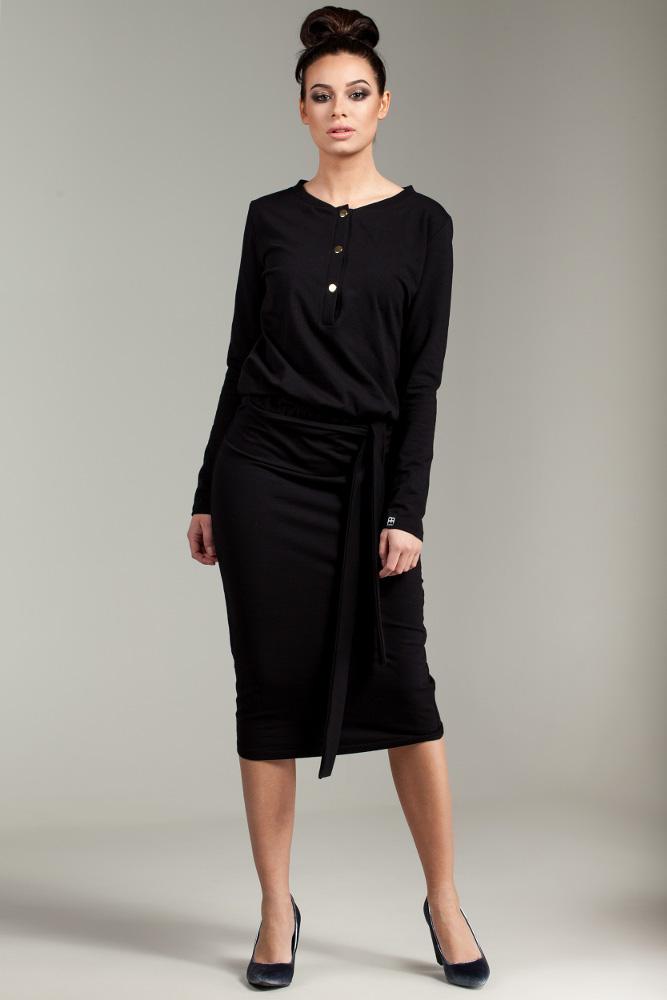CM2876 Przewiązana sukienka biurowa - czarna