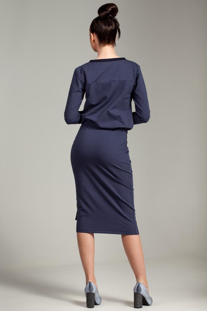 CM2876 Przewiązana sukienka biurowa - niebieska
