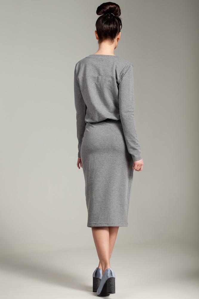 CM2876 Przewiązana sukienka biurowa - szara