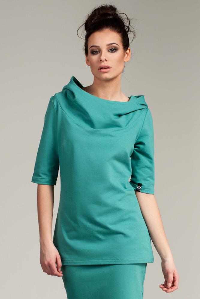 CM2878 Stylowa bluza z kapturem - zielona