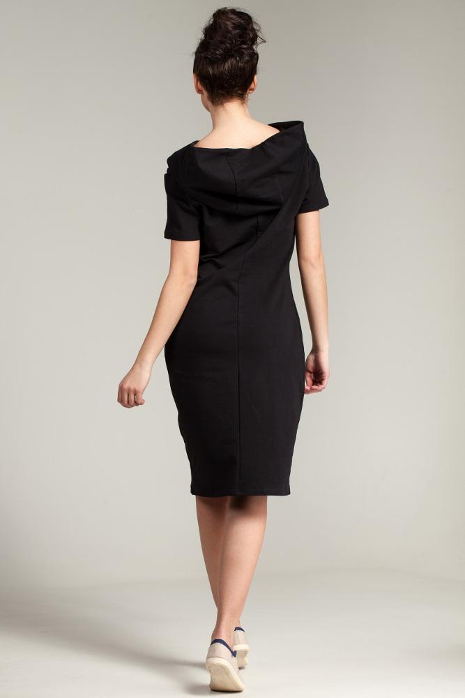 CM2880 Unikalna sukienka z kapturem - czarna