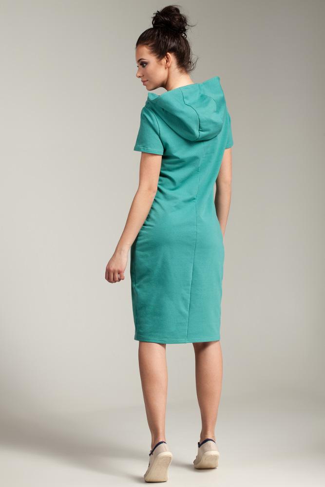 CM2880 Unikalna sukienka z kapturem - zielona