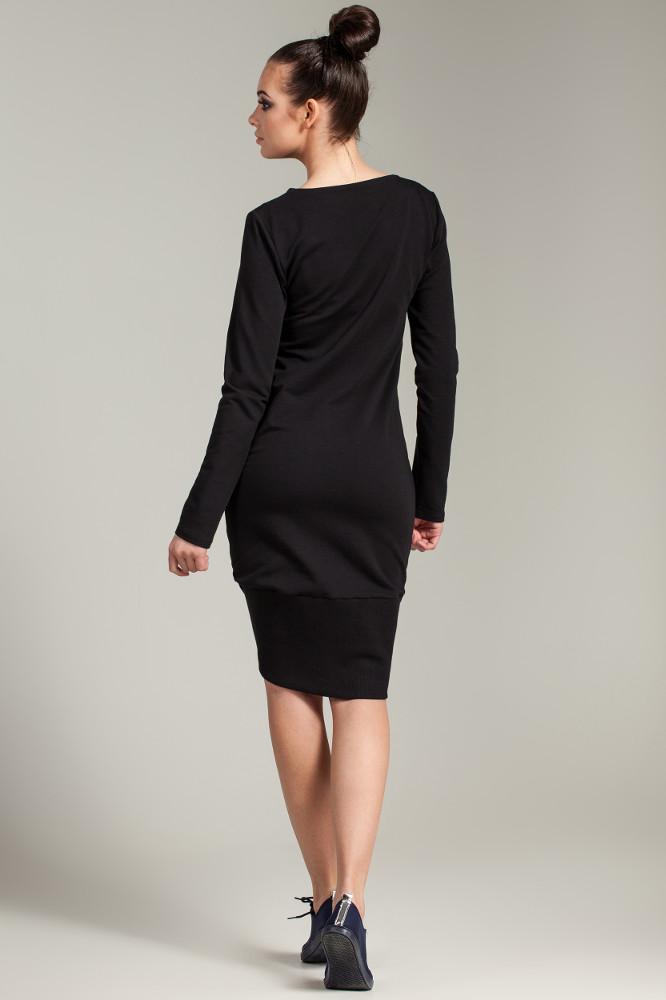 CM2786 Asymetryczna dresowa sukienka - czarna