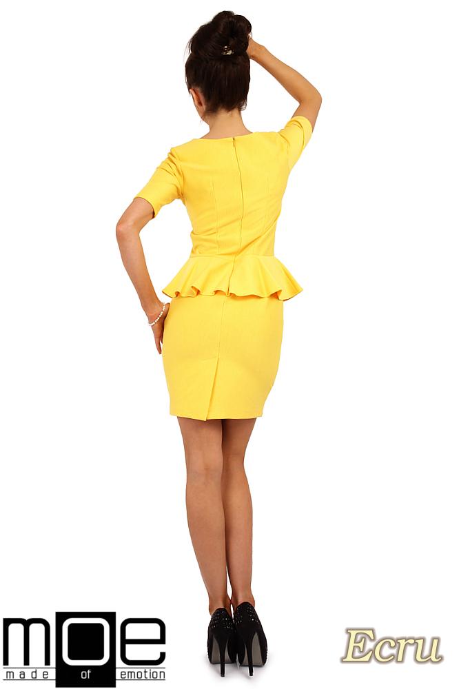 CM0220 Elegancka sukienka ołówkowa z baskinką - żółta OUTLET