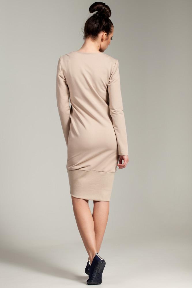 CM2786 Asymetryczna dresowa sukienka - beżowa OUTLET