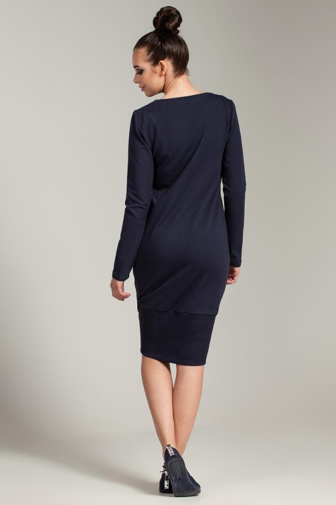 CM2786 Asymetryczna dresowa sukienka - granatowa OUTLET