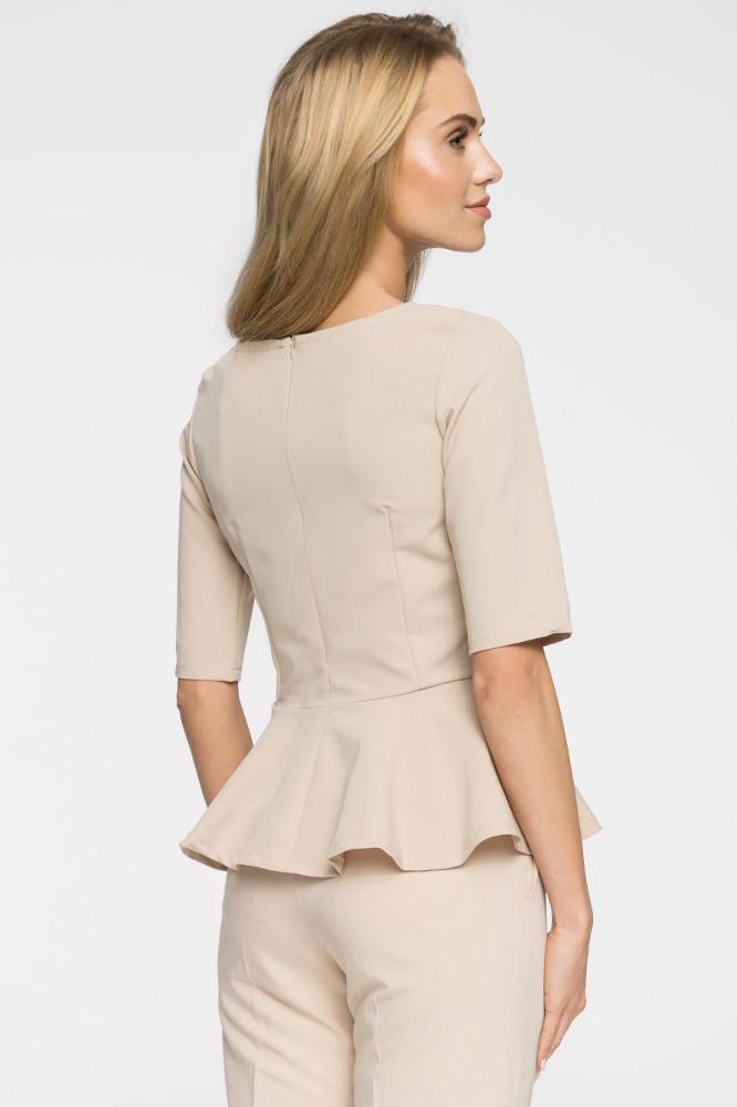 CM2651 Nowoczesna dopasowana bluzka baskinka - beżowa