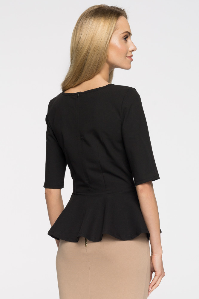 CM2651 Nowoczesna dopasowana bluzka baskinka - czarna