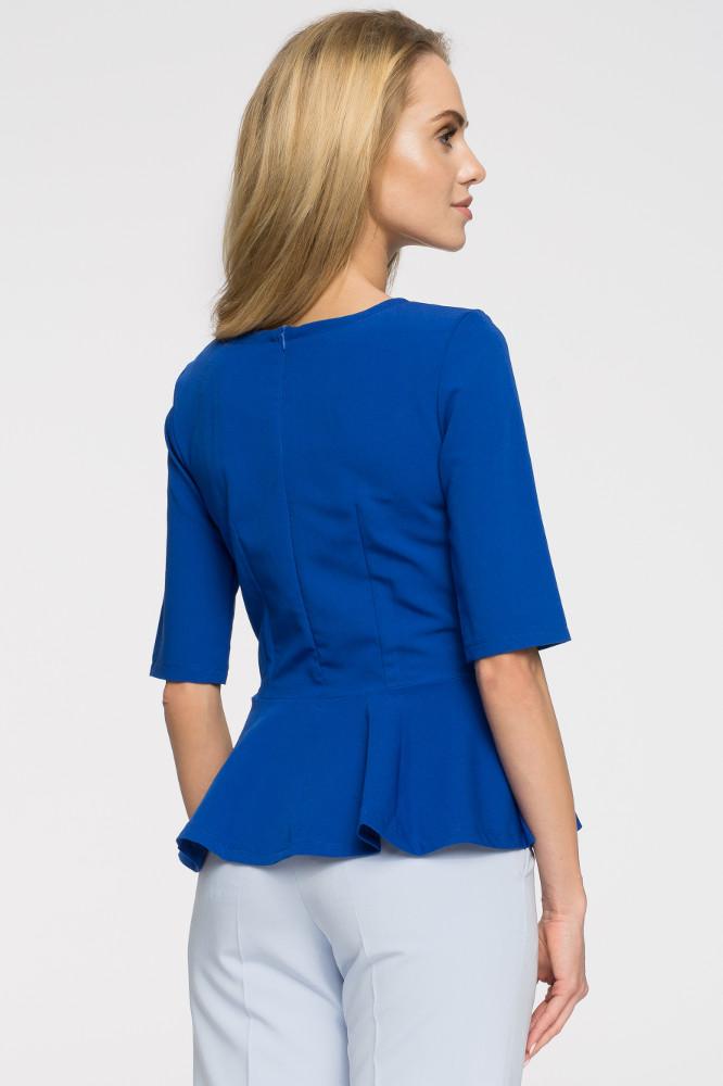 CM2651 Nowoczesna dopasowana bluzka baskinka - chabrowa