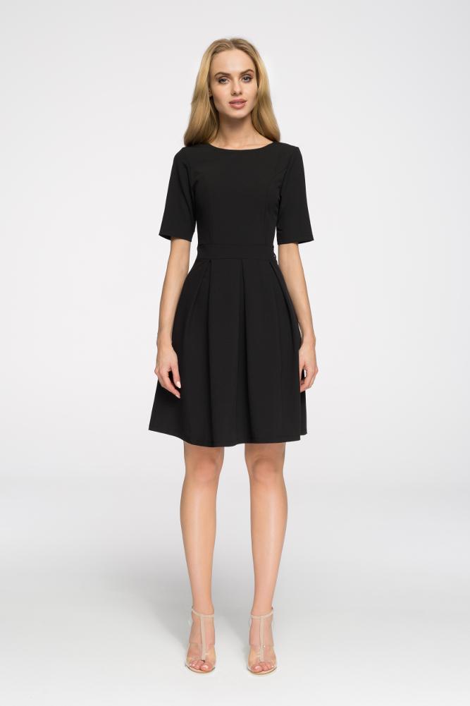 CM2652 Biurowa sukienka w kontrafałdy - czarna
