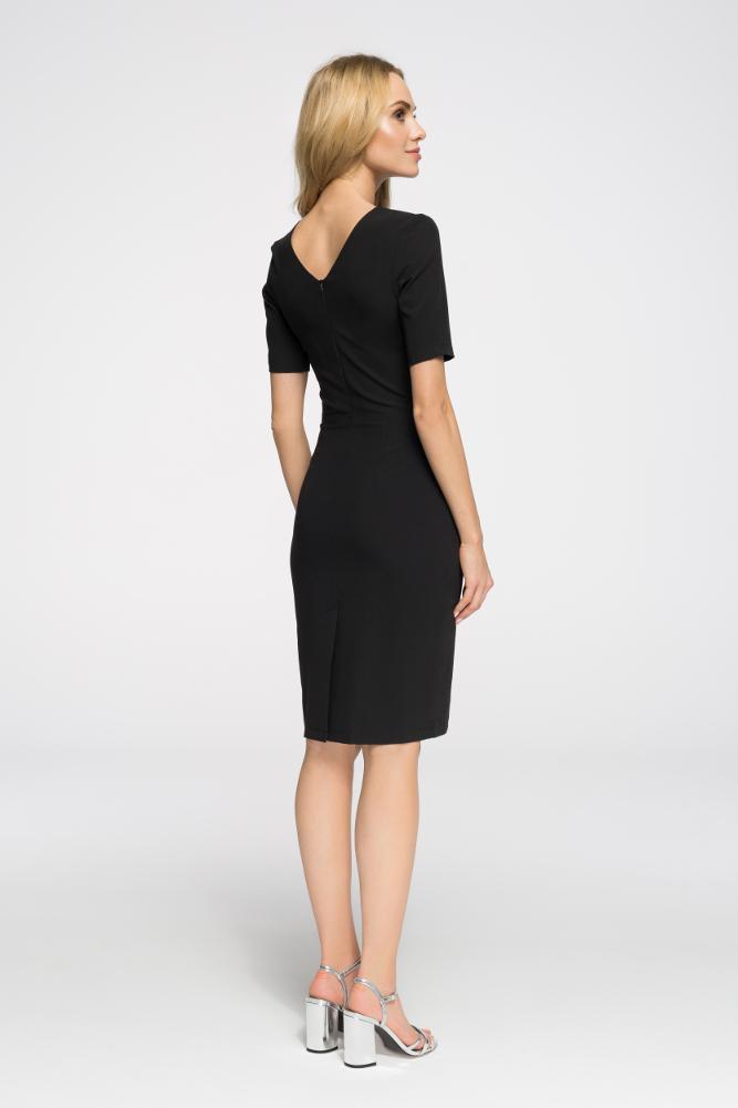 CM2653 Biurowa sukienka ołówkowa z marszczeniami - czarna