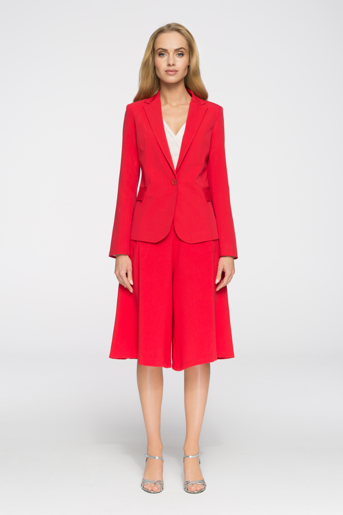 CM2654 Elegancki żakiet biurowy zapinany na guzik - czerwony