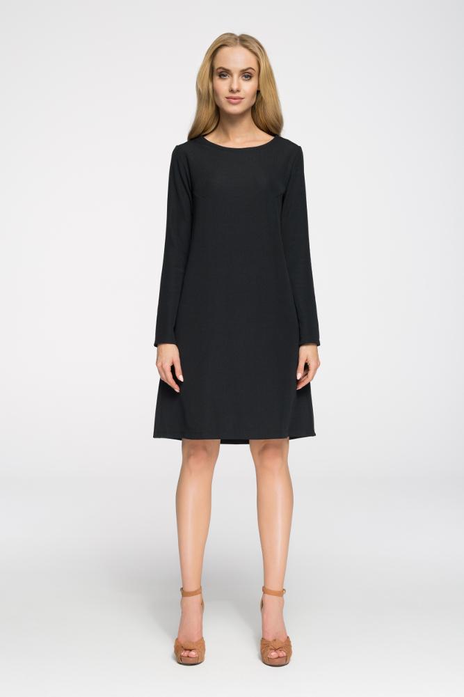 CM2656 Klasyczna sukienka z długim rękawem - czarna