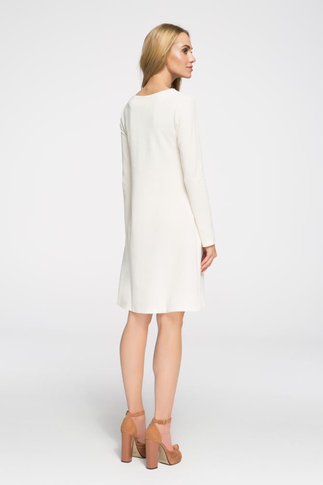 CM2656 Klasyczna sukienka z długim rękawem - ecru