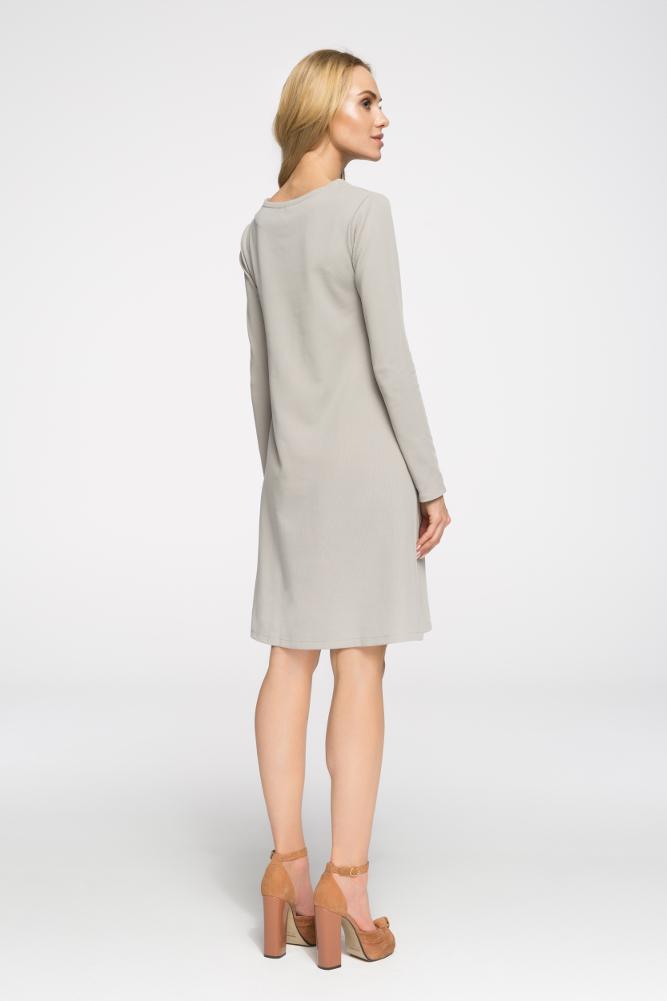 CM2656 Klasyczna sukienka z długim rękawem - szara