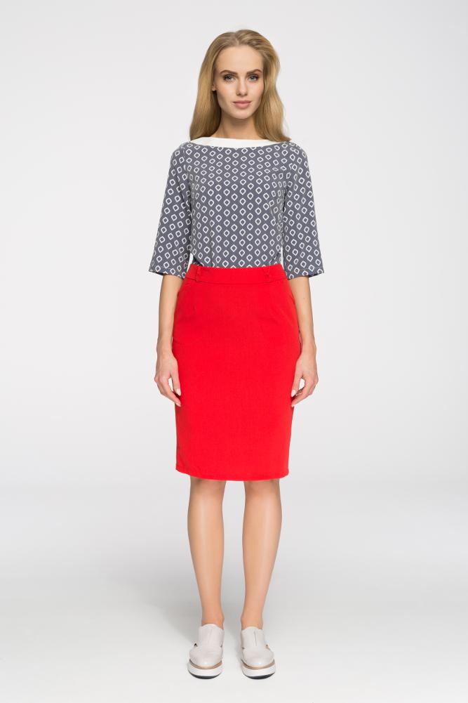 CM2657 Elegancka spódniczka biurowa - czerwona