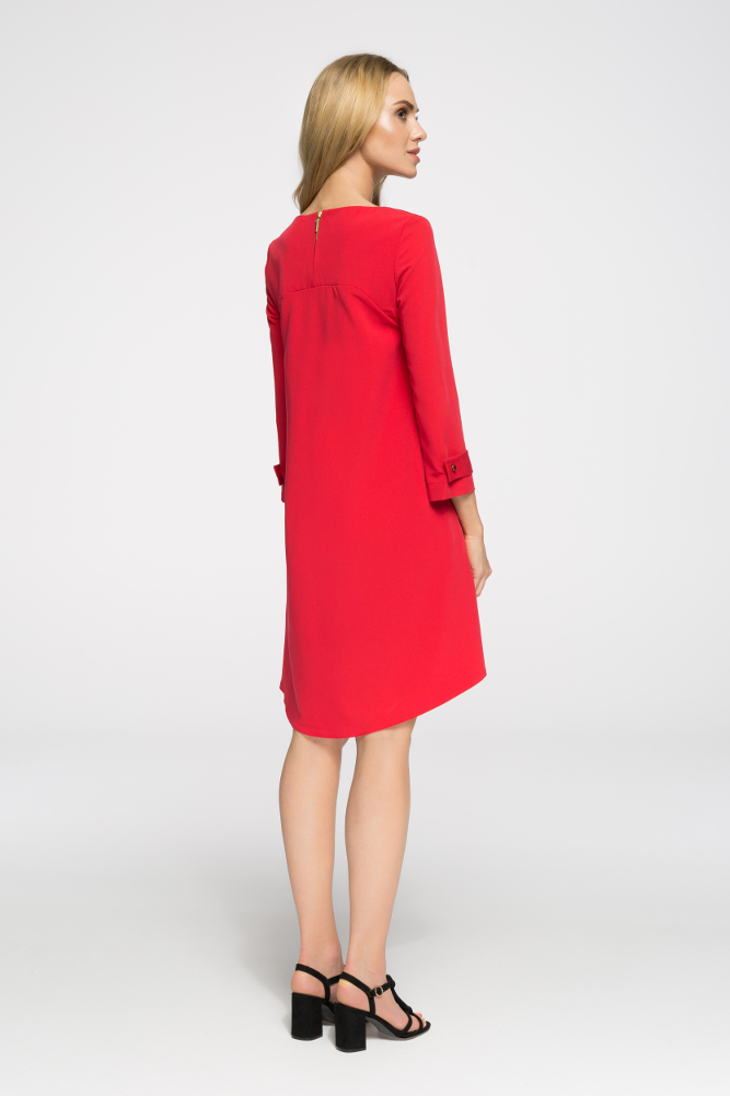 CM2660 Rozkloszowana sukienka z zaszewką - czerwona