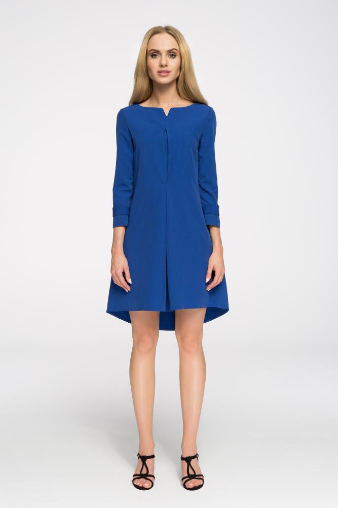 CM2660 Rozkloszowana sukienka z zaszewką - chabrowa
