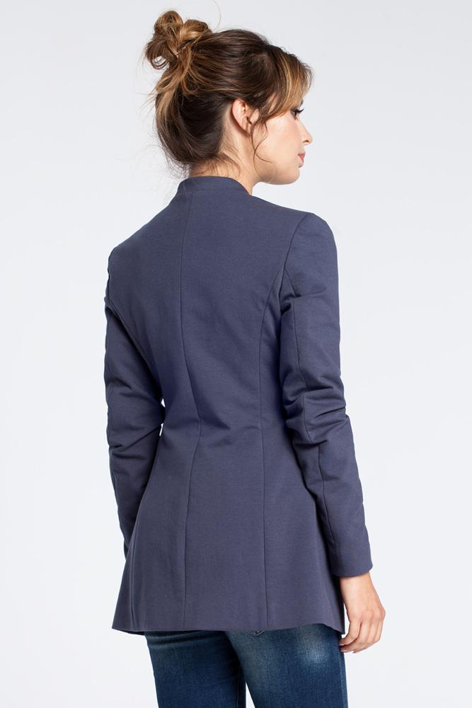 CM3027 Dzianinowy niezapinany żakiet - niebieski