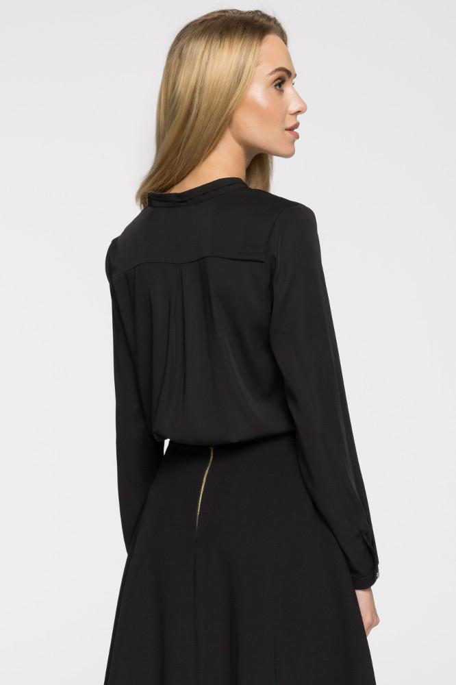 CM2663 Bluzka koszulowa stójka - czarna