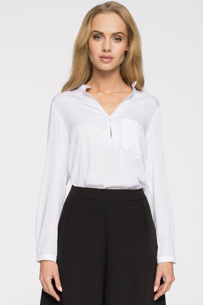 CM2663 Bluzka koszulowa stójka - biała