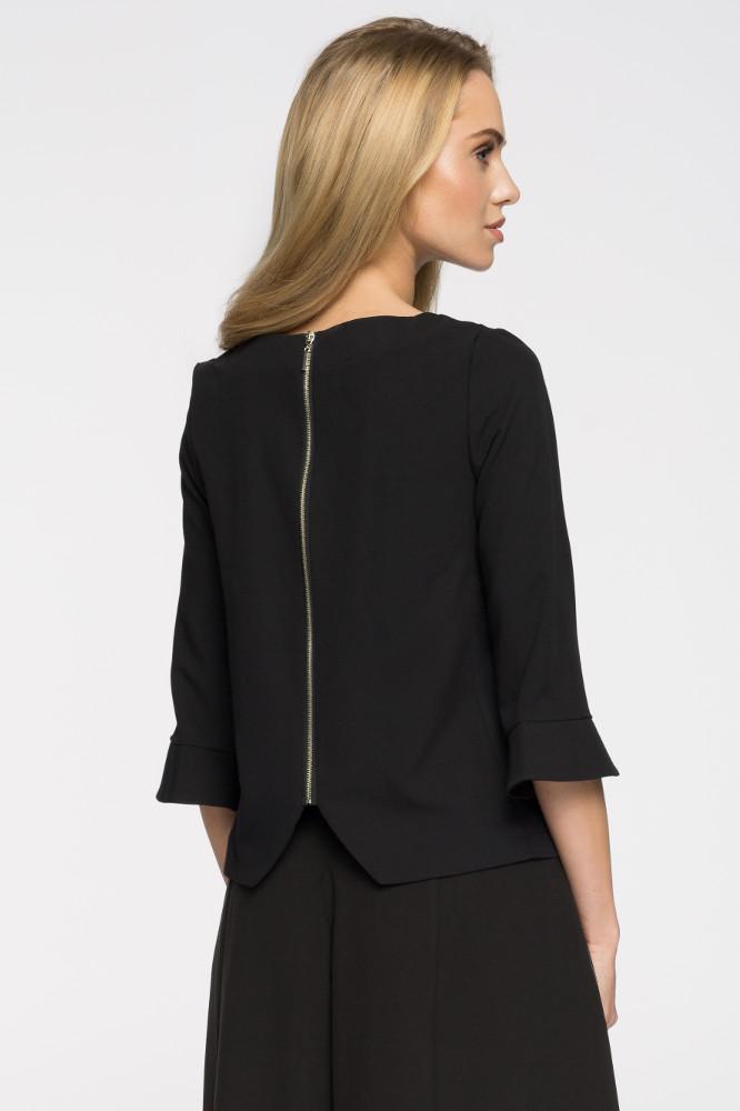 CM2665 Prosta bluza damska zasuwana na zamek - czarna