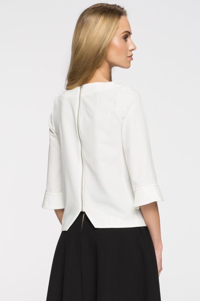 CM2665 Prosta bluza damska zasuwana na zamek - ecru