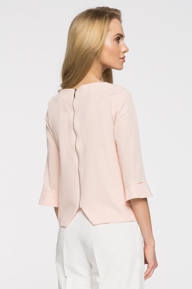 CM2665 Prosta bluza damska zasuwana na zamek - pudrowa