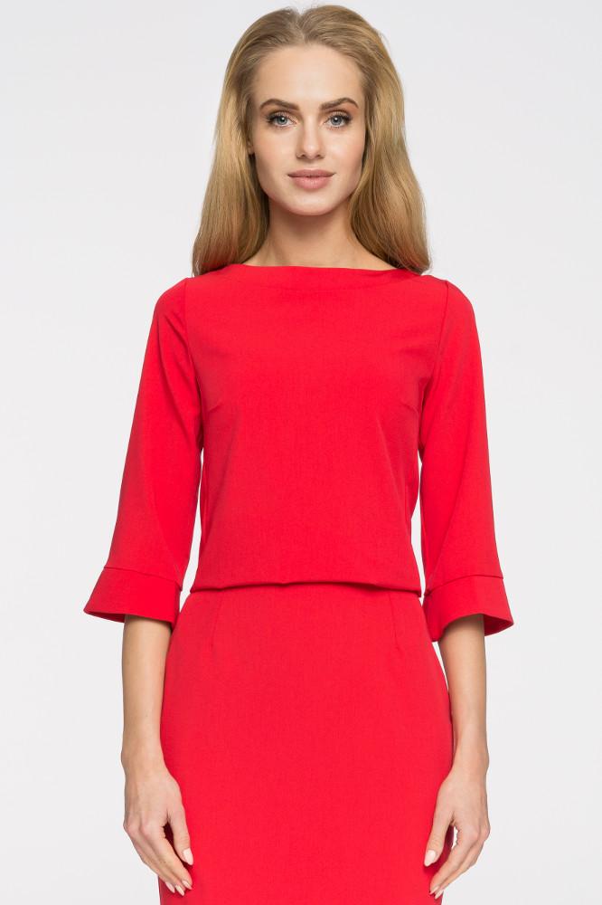 CM2665 Prosta bluza damska zasuwana na zamek - czerwona