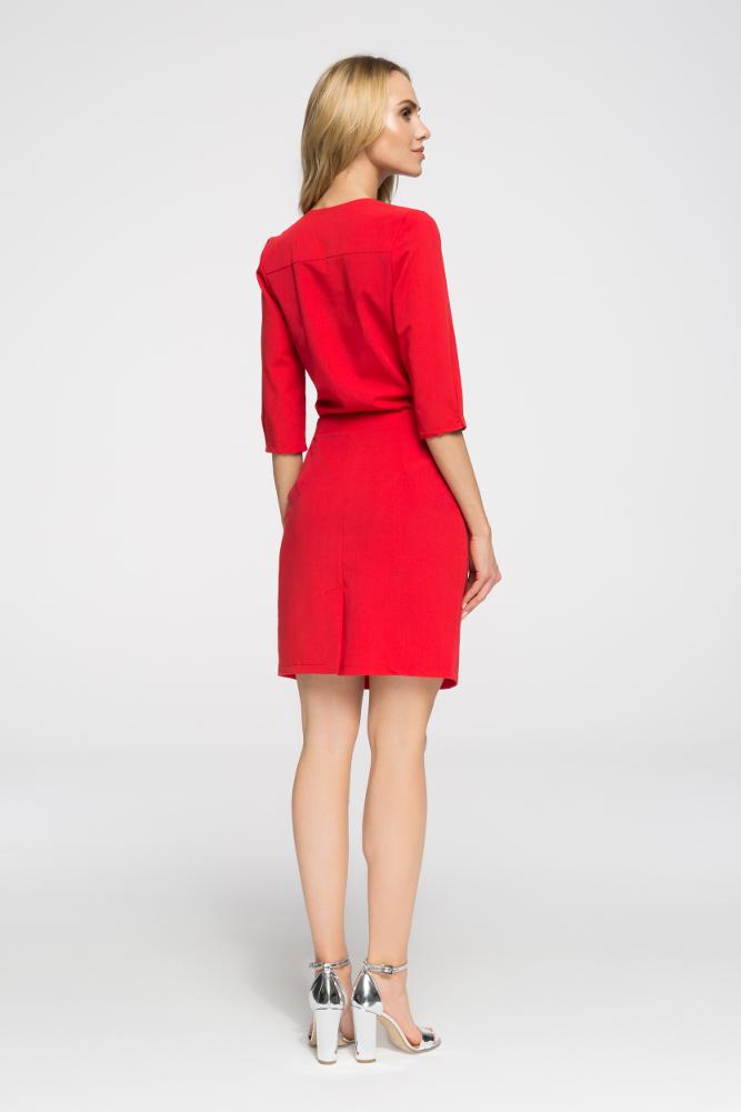 CM2667 Kopertowa sukienka mini - czerwona