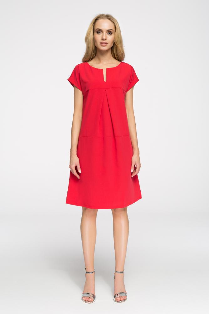 CM2669 Stylowa sukienka o nowoczesnym kroju - czerwona