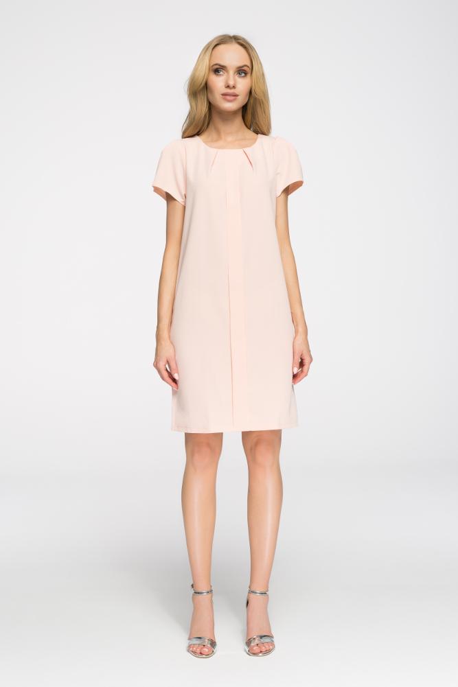 CM2672 Ołówkowa sukienka z marszczeniami - pudrowa