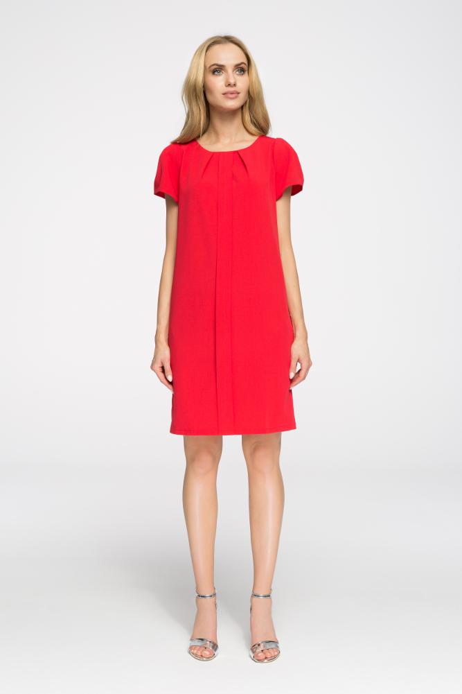 CM2672 Ołówkowa sukienka z marszczeniami - czerwona