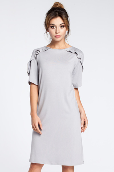 CM3032 Elegancka sukienka midi z falbankami - szara