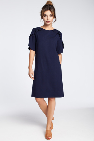 CM3032 Elegancka sukienka midi z falbankami - granatowa