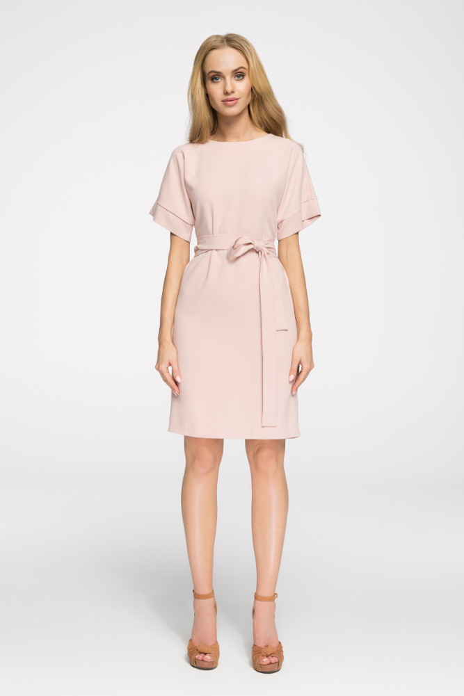 CM2674 Elegancka sukienka wyjściowa - pudrowa