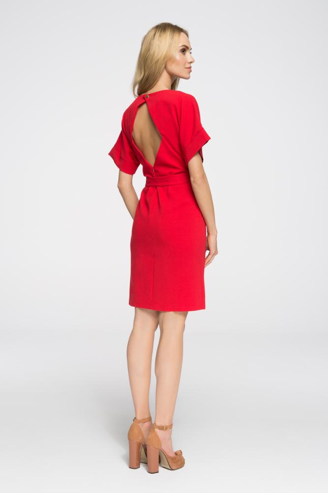 CM2674 Elegancka sukienka wyjściowa - czerwona