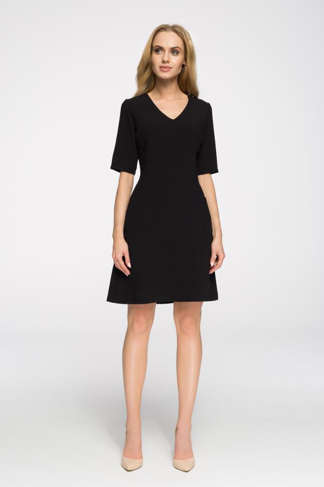 CM2676 Taliowana sukienka do pracy - czarna