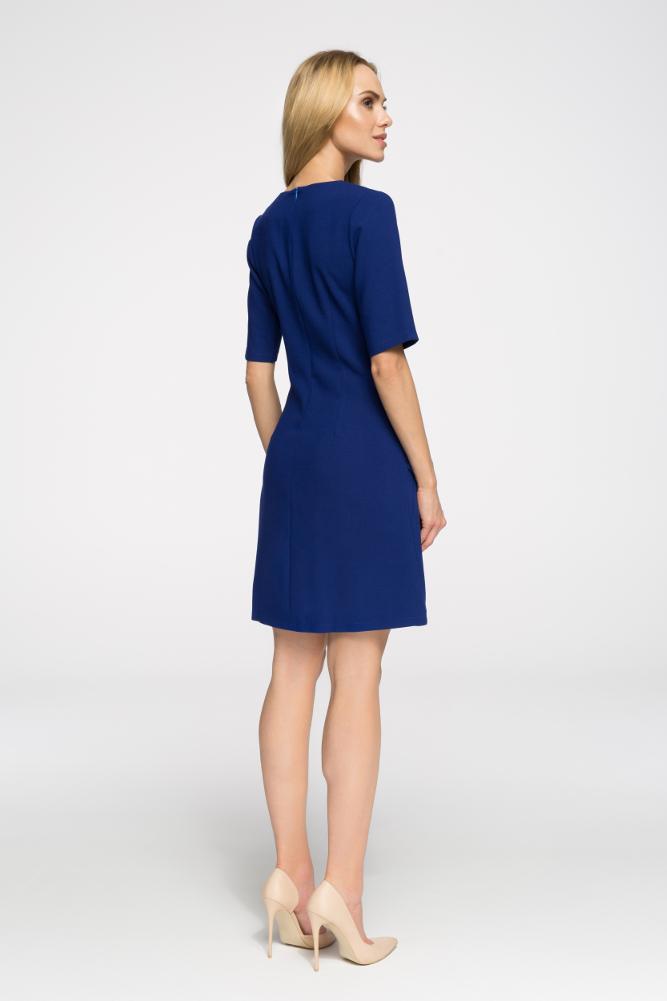 CM2676 Taliowana sukienka do pracy - chabrowa