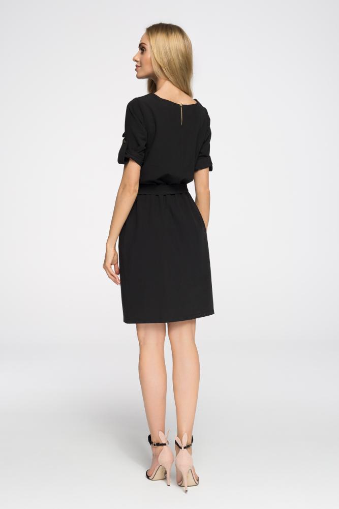 CM2678 Odcinana sukienka mini z kieszeniami - czarna