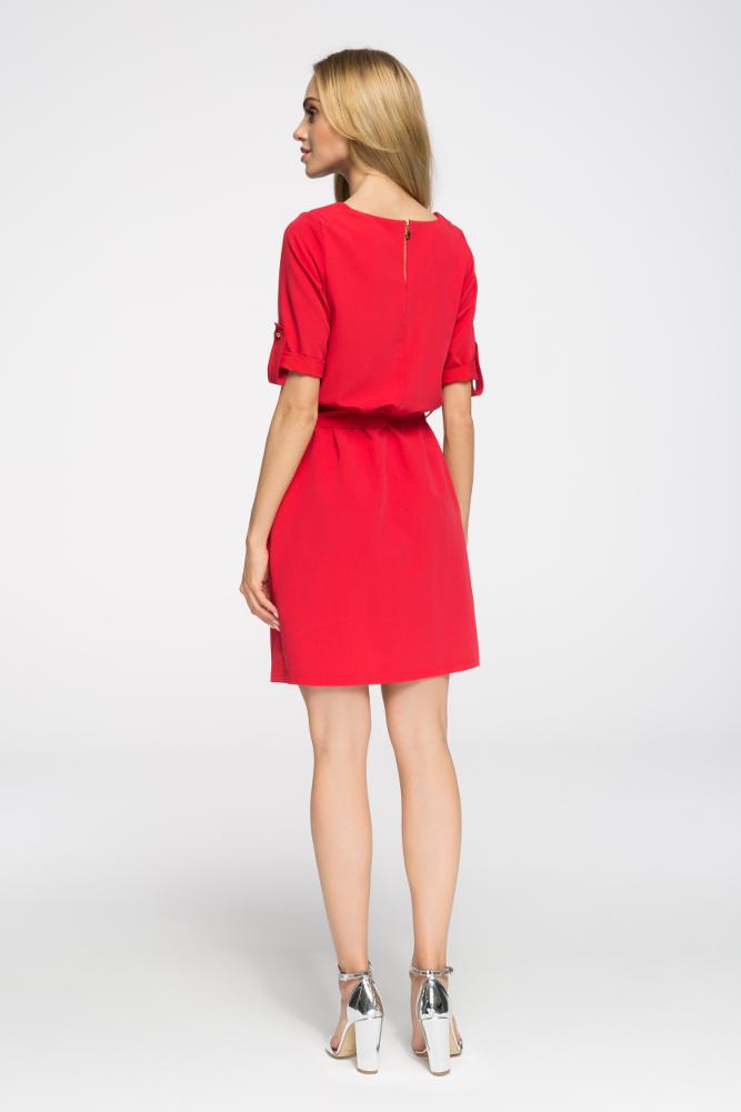 CM2678 Odcinana sukienka mini z kieszeniami - czerwona