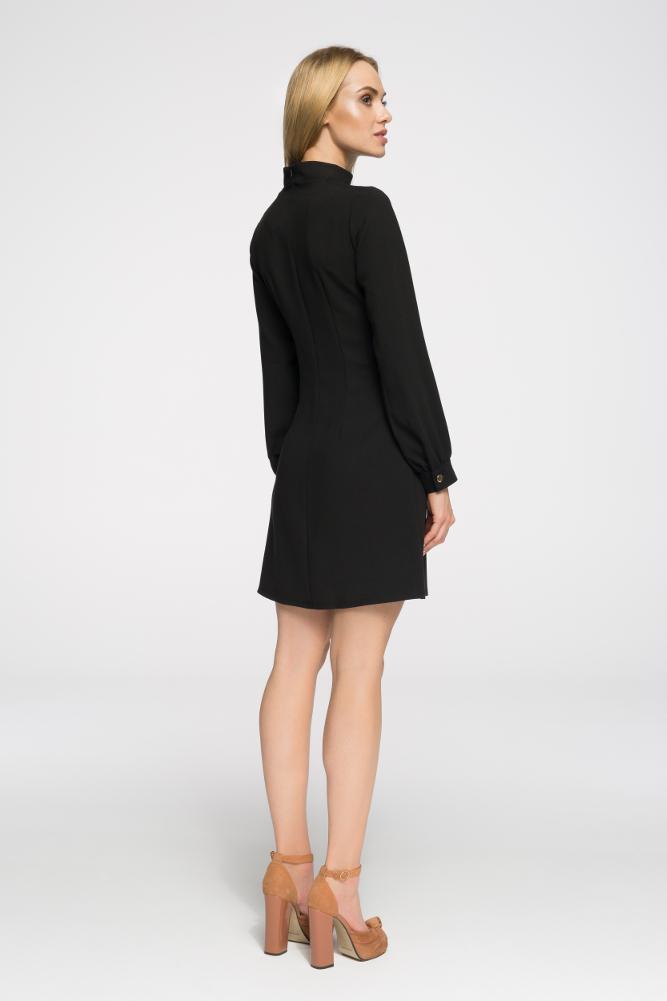 CM2680 Stylowa sukienka z długim rękawem - czarna