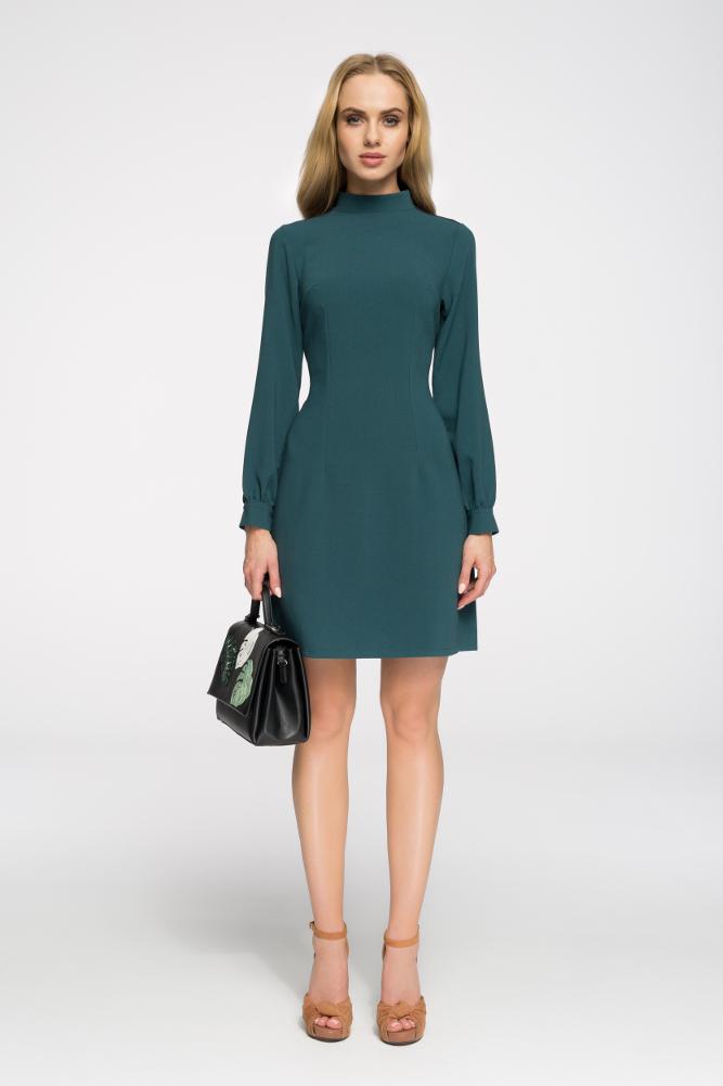 CM2680 Stylowa sukienka z długim rękawem - zielona