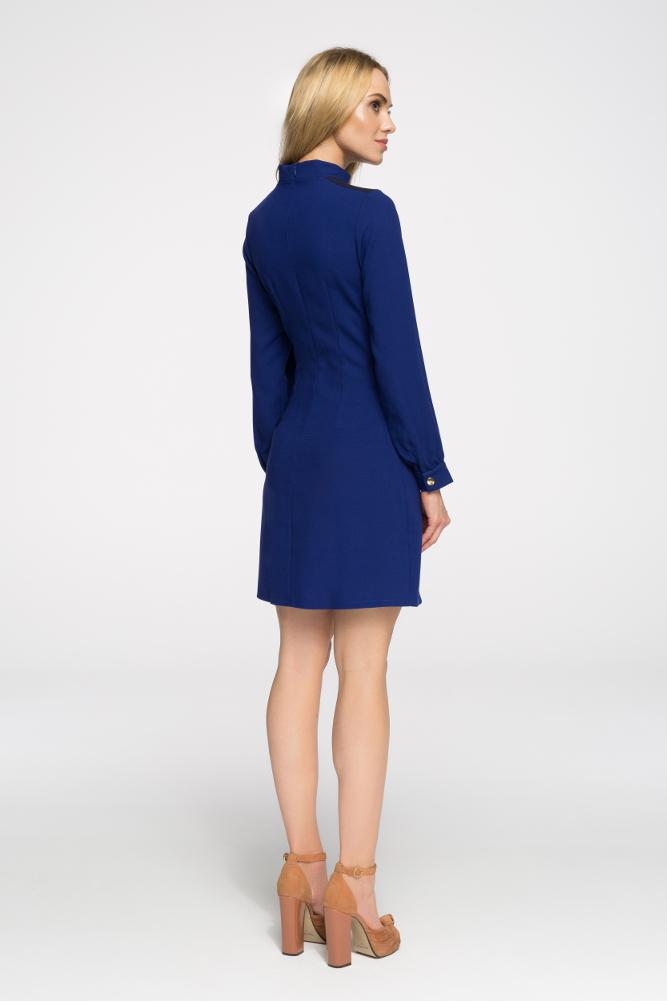 CM2680 Stylowa sukienka z długim rękawem - chabrowa