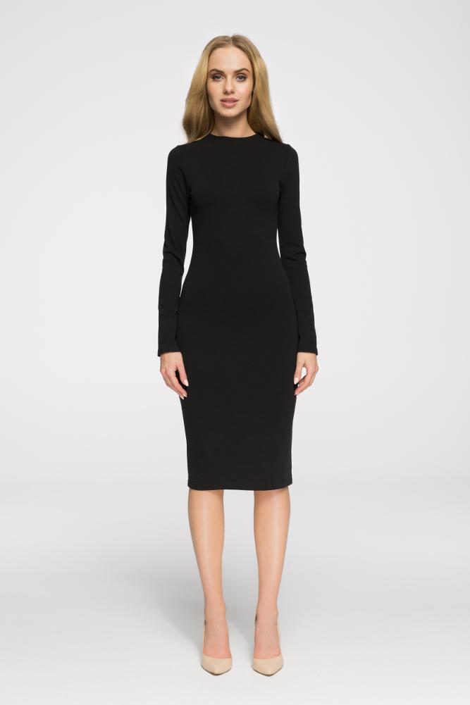 CM2710 Wieczorowa sukienka z długim rękawem - czarna