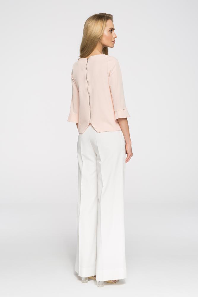 CM2711 Eleganckie spodnie damskie w kant - ecru
