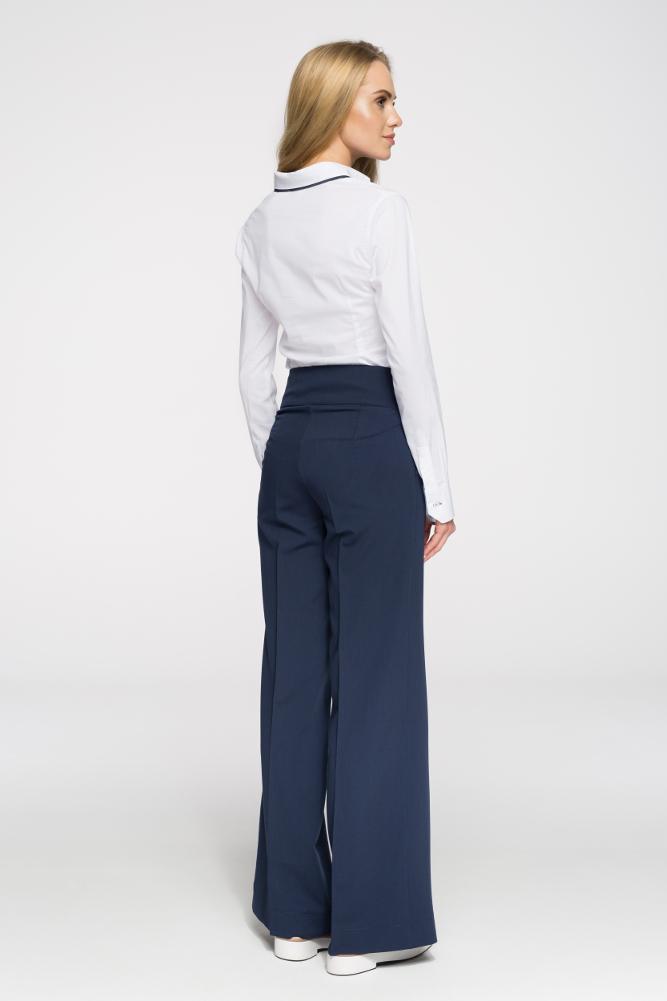 CM2711 Eleganckie spodnie damskie w kant - granatowe
